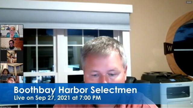 Boothbay Harbor Selectmen Sep 27, 2021