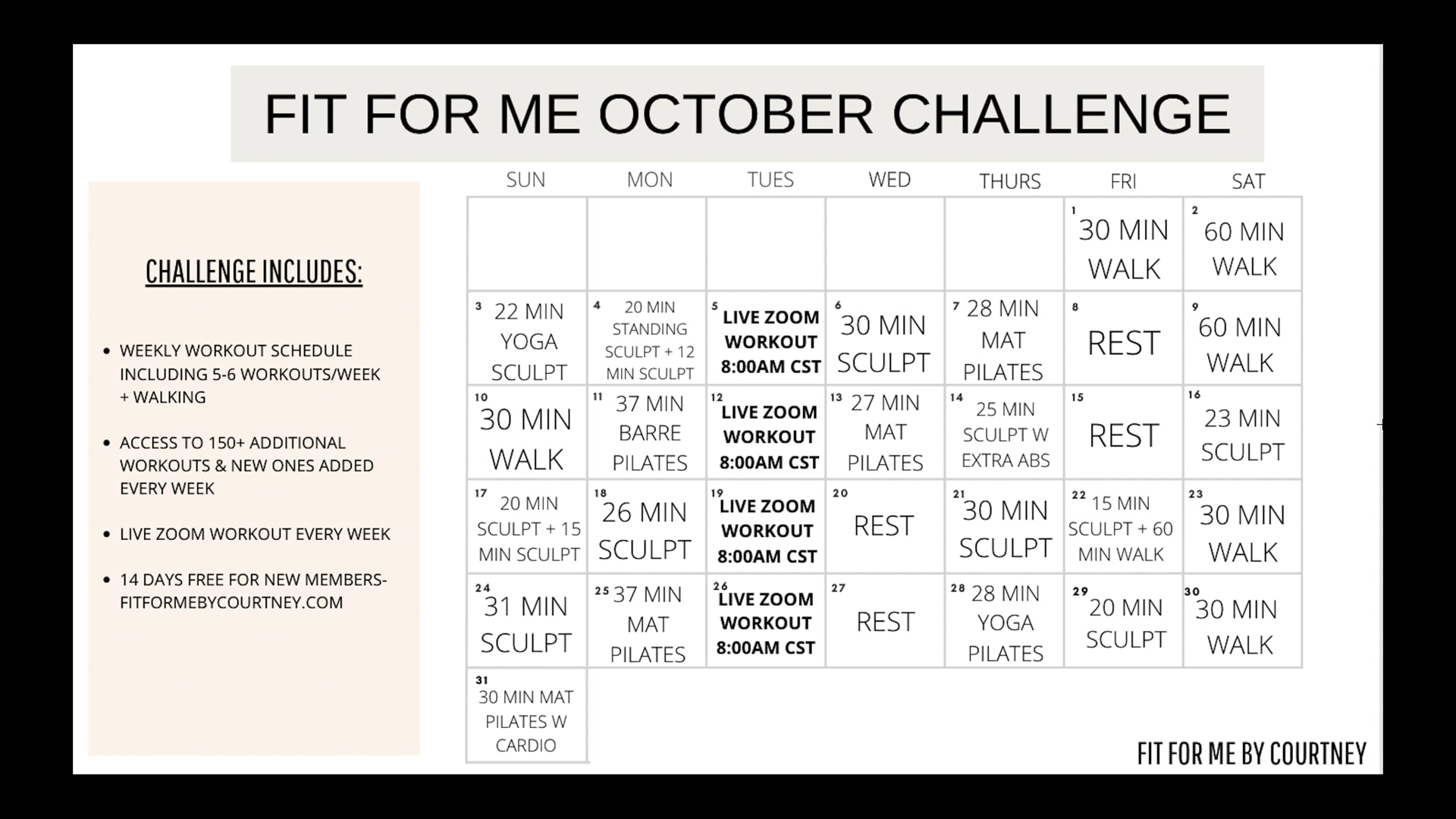 OCTOBER WORKOUT CHALLENGE