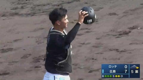【みやざきPL】マリーンズ・谷川唯人 正確な送球で盗塁阻止!! 2021年10月11日 広島東洋カープ 対 千葉ロッテマリーンズ