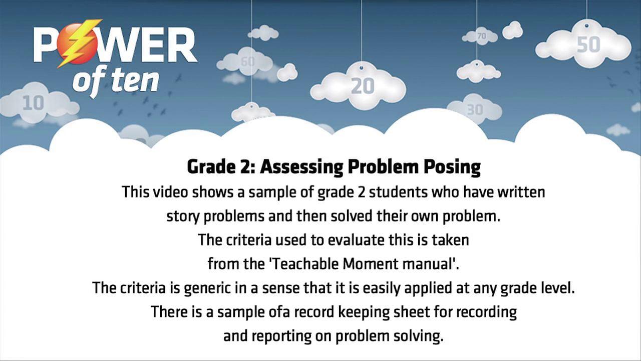 Grade 2 - assessing Problem Posing