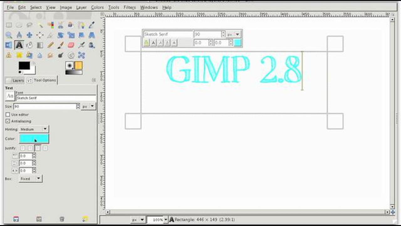 Text Tool in GIMP 2.8