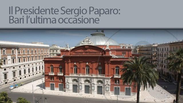 Il Presidente Sergio Paparo: Bari l' ultima occasione - 15/10/2012
