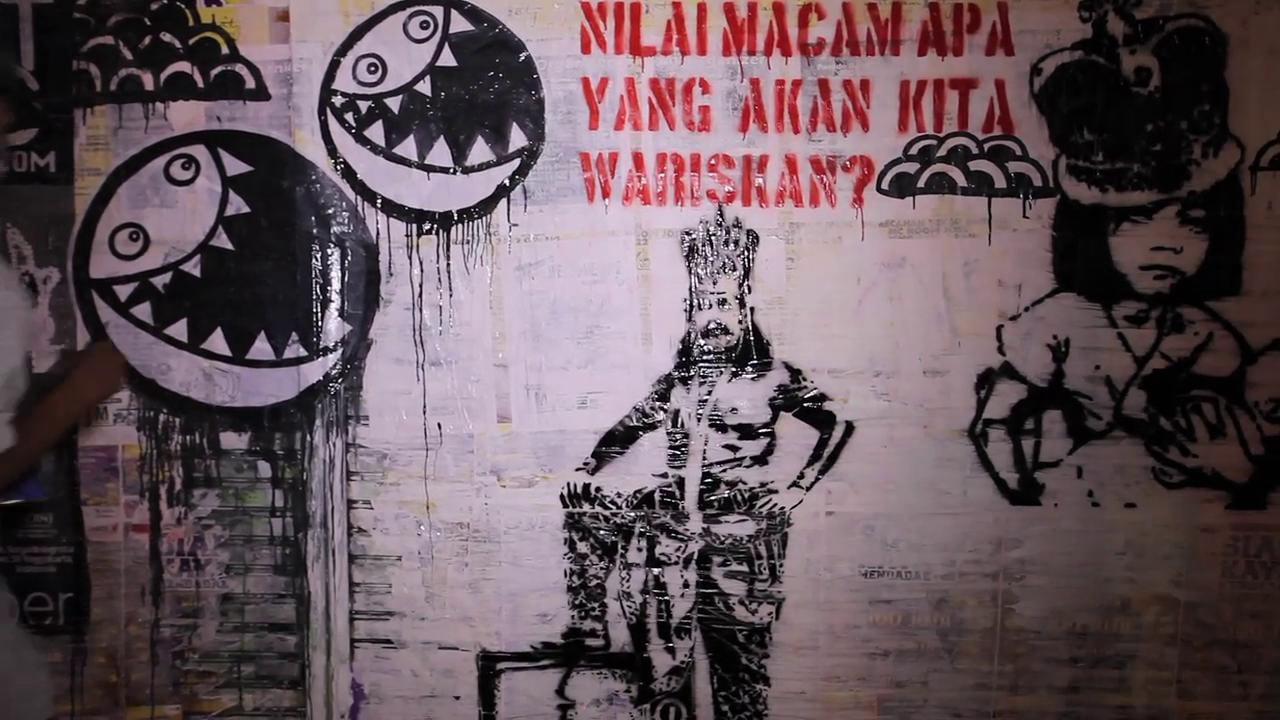 Javanese Street Artists Digie Sigit, Adit HereHere, Wimbo Praharso Geurrilas and Anti Tank Christmas Day Night 25/12/12
