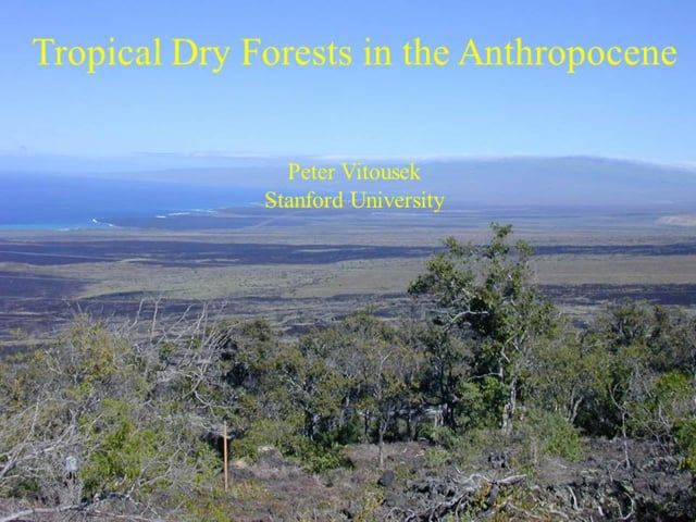 """2013_02 Dr. Peter Vitousek  """"Tropical Dry Forests in the Anthropocene"""""""