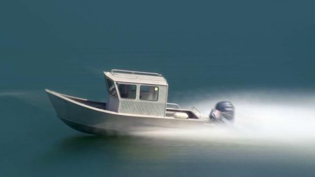 Motorboat Speeding Across a Lake