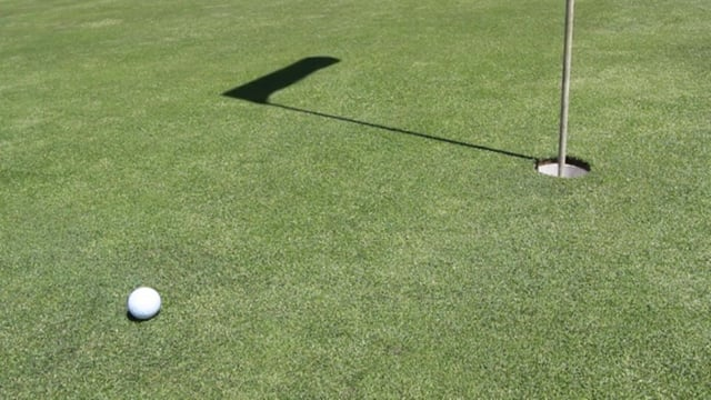 Golf Ball Rolling into a Hole on a Green