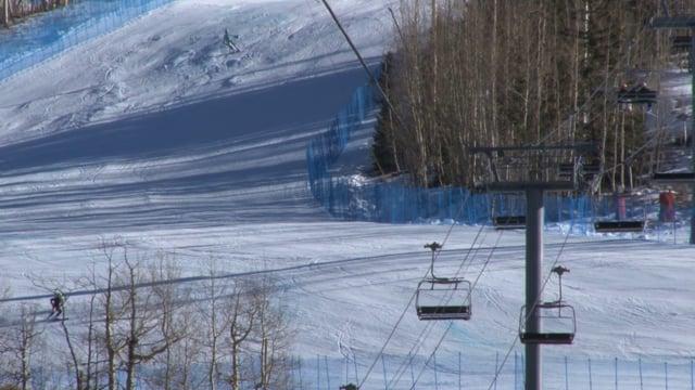 Ski Lift and Skiers at a Ski Resort