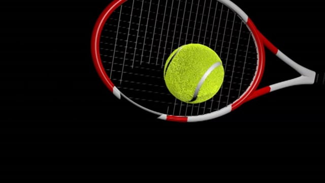 Tennis Racket Hits Tennis Ball