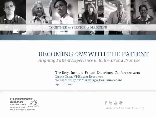 BECOMING ONE WITH THE PATIENT: ALIGNING PATIENT EXPERIENCE WITH BRAND PROMISE