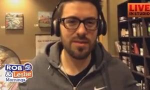 Danny Gokey Downtown interviews people at Starbucks