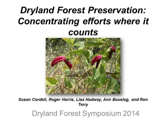 """2014_04: Susan Cordell """"Dryland Forest Preservation: Concentrating efforts where it counts"""""""