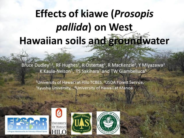 """2014_08: Bruce Dudley """"Effects of kiawe (Prosopis pallida) on West Hawaiian soils and groundwater"""""""