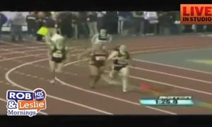Runner Falls But Does Not Stay Down Long