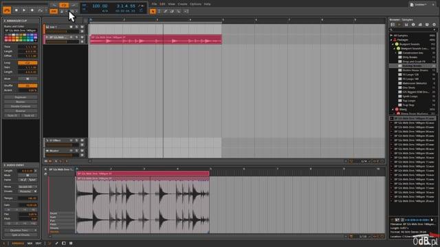 Praca z materialem audio w DAW Bitwig Studio