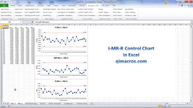 Create an I-MR-R Control Chart in Excel
