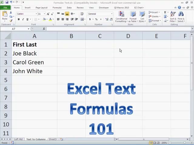 Excel Functions for Text
