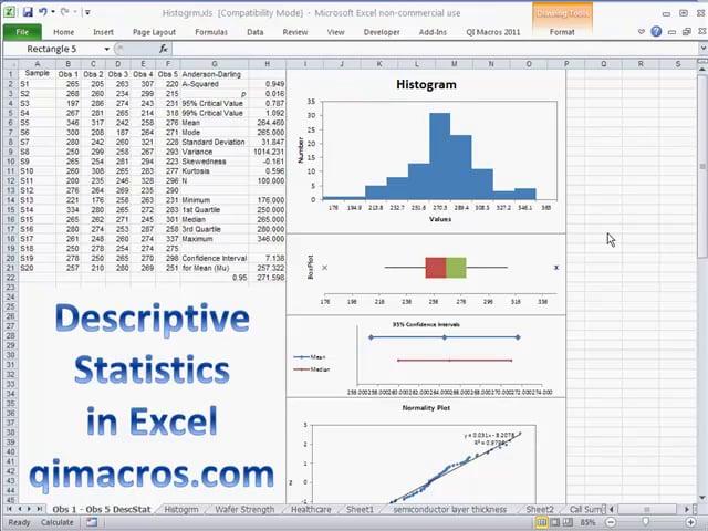 Descriptive Statistics in Excel