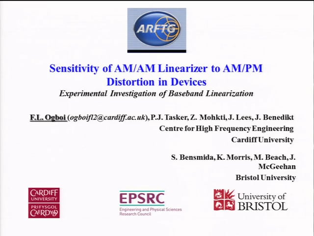 Sensitivity of AM/AM Linearizer to AM/PM Distortion in Devices - [ARFTG83, Ogboi]
