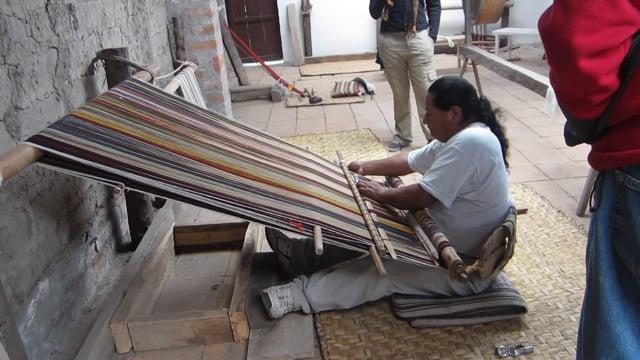 Backstrap weaving in the studio of Manuel Andrango
