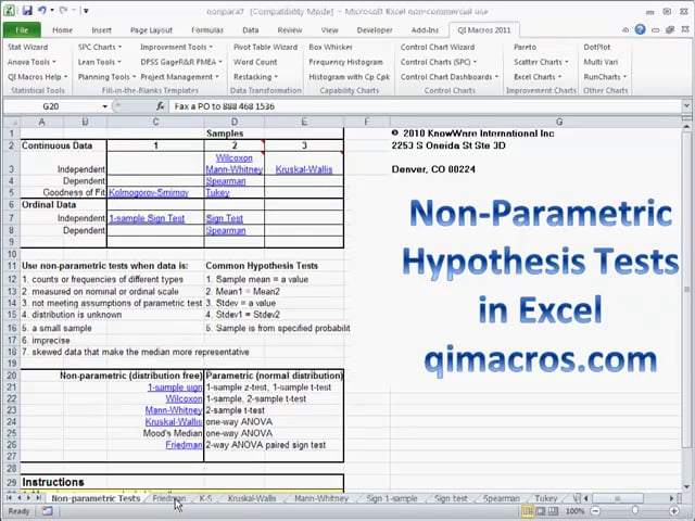 Non-Parametric Hypothesis Testing in Excel