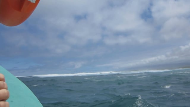Breaking through very large swell in a very small boat