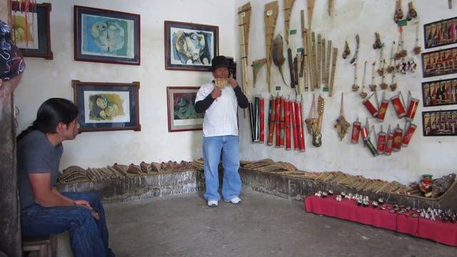 Ecuadorian music in a instrument maker's shop
