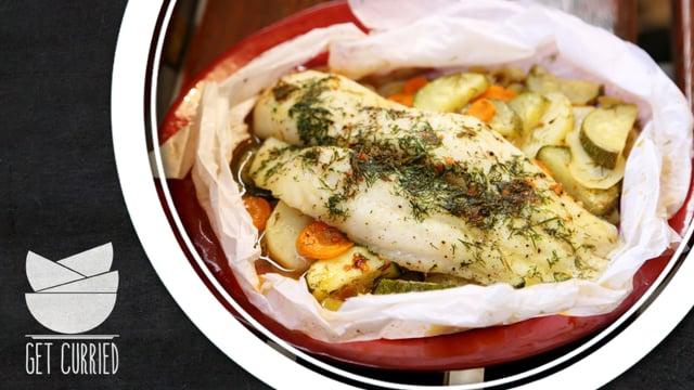 Fish En Papillote – Sülthal zöldségekkel recept