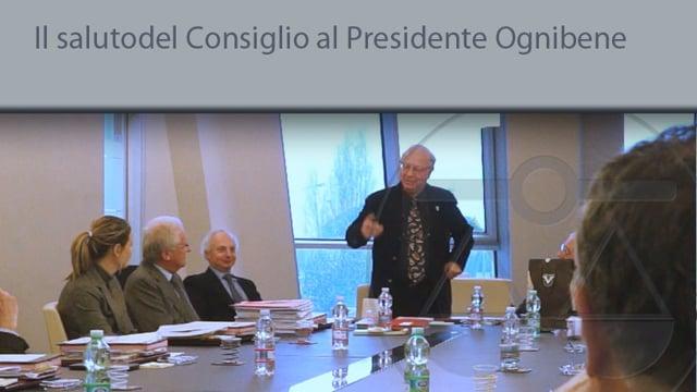 Il saluto del Consiglio al Presidente Ognibene - 15/1/2015