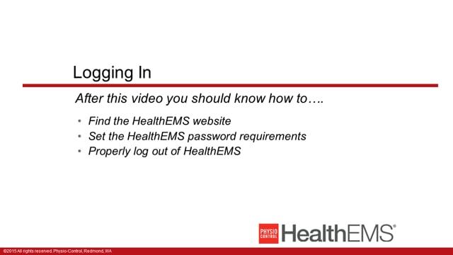 HealthEMS 1001 - Essentials - Logging In