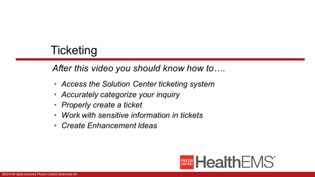 HealthEMS 1003 - Essentials - Ticketing