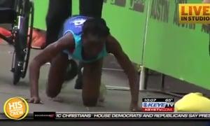 Marathon Runner Crawls Across Finish Line