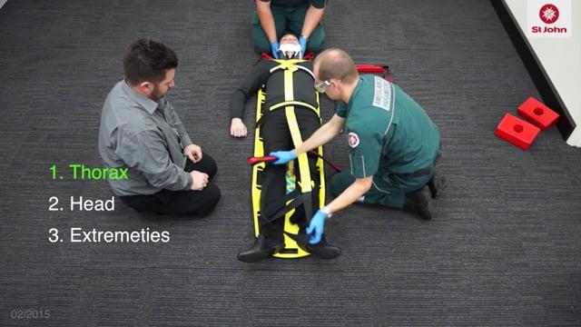 Spinal immobilisation (spine board) (VIDSKILL010a)