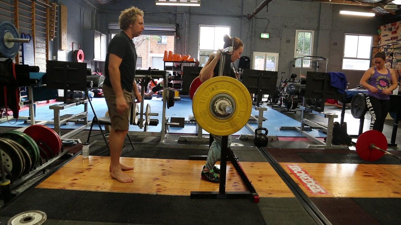 Cambered Bar Back Squat 123kg Lizanne (61kg)