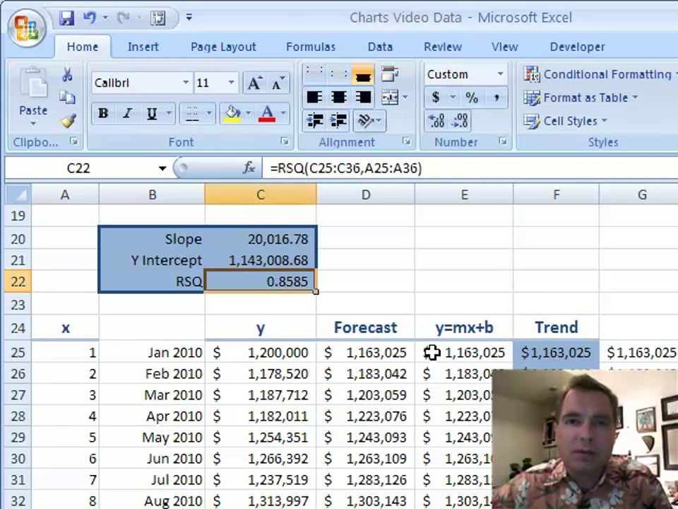 Excel Video 103 Forecasting Part 3