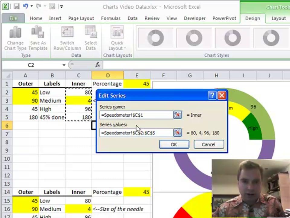 Excel Video 120 Speedometer Charts Part 4