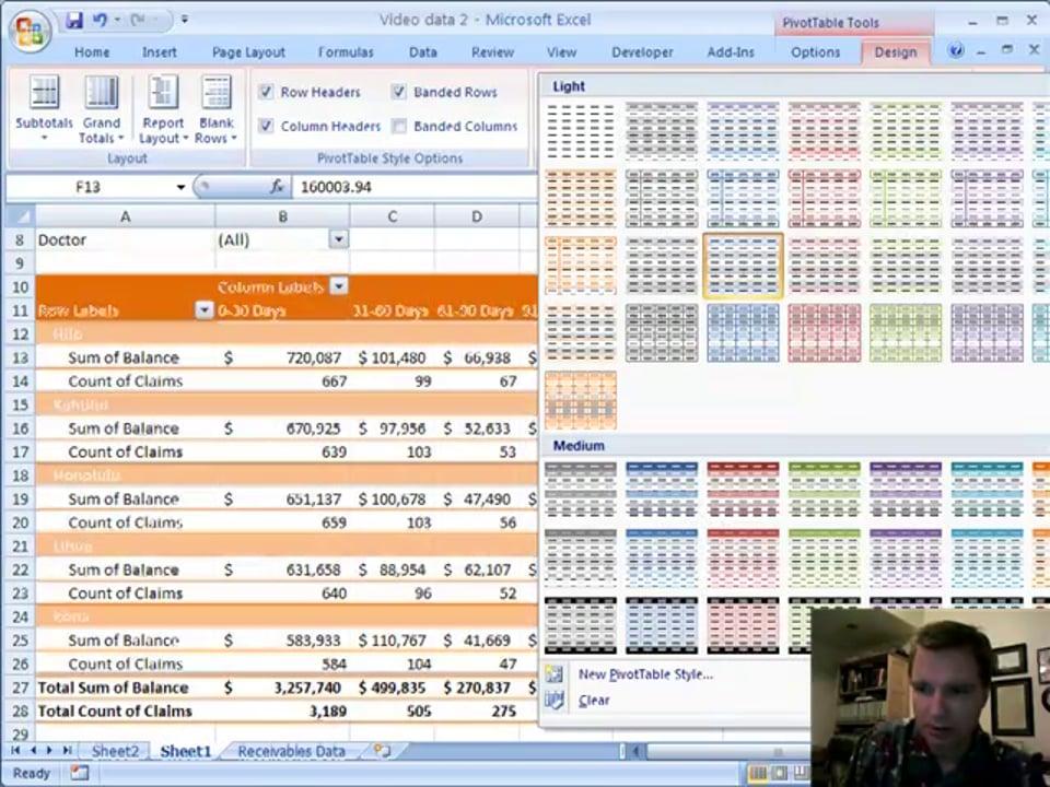 Excel Video 12 Pivot Table Design Tricks