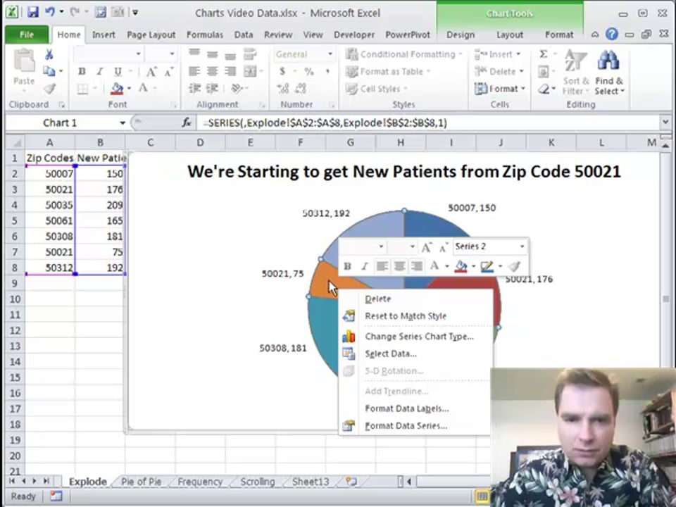 Excel Video 127 Exploding Pie Charts