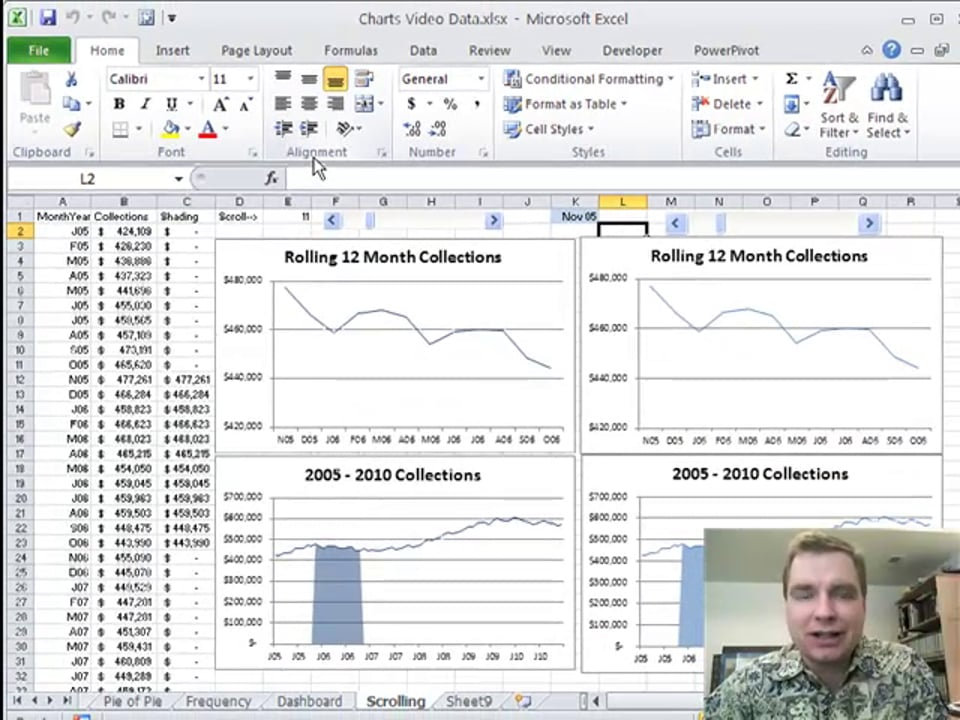 Excel Video 138 Adding the Scroll Bar to the Scrolling Chart