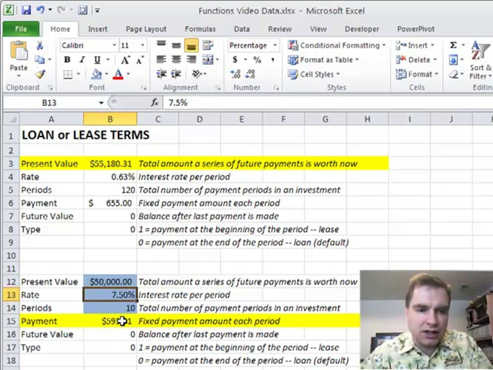 Excel Video 143 PMT to Calculate Payments