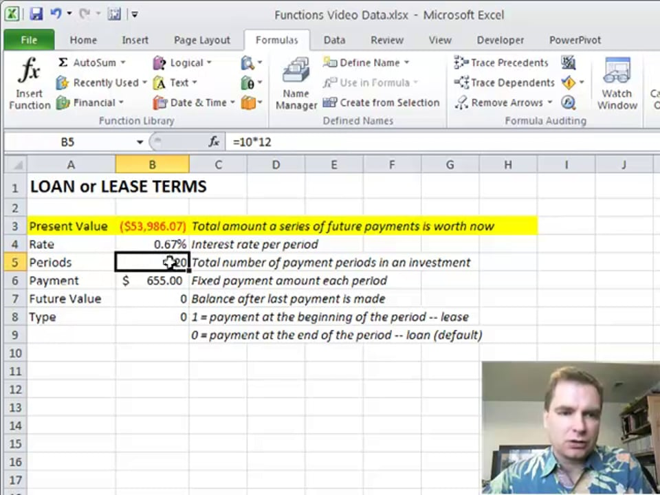 Excel Video 142 PV Present Value
