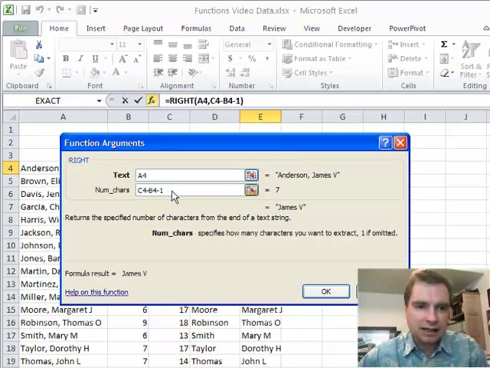 Excel Video 156 Right