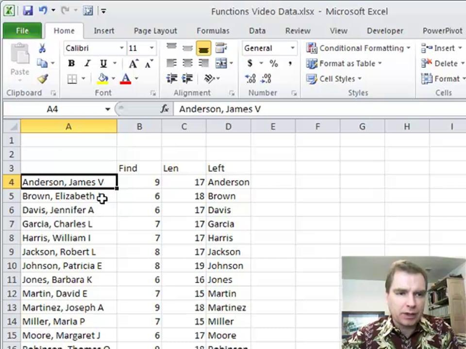 Excel Video 155 LEFT