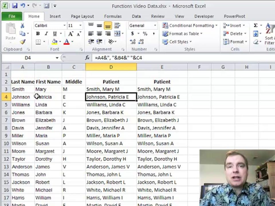 Excel Video 152 CONCATENATE