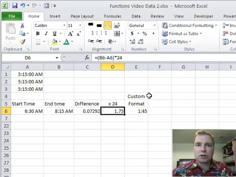 Excel Video 168 TIME
