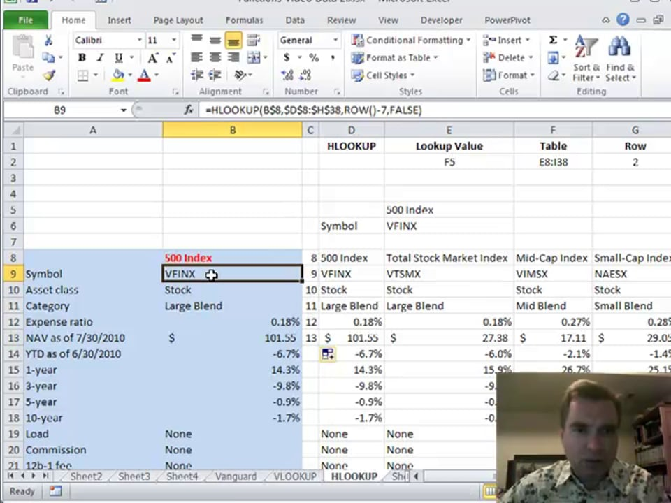 Excel Video 176 ROW with HLOOKUP