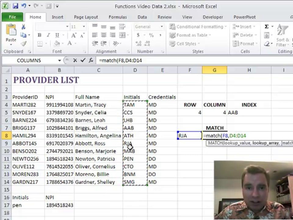 Excel Video 179 MATCH