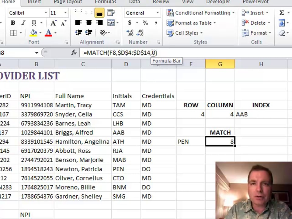 Excel Video 180 INDEX and MATCH
