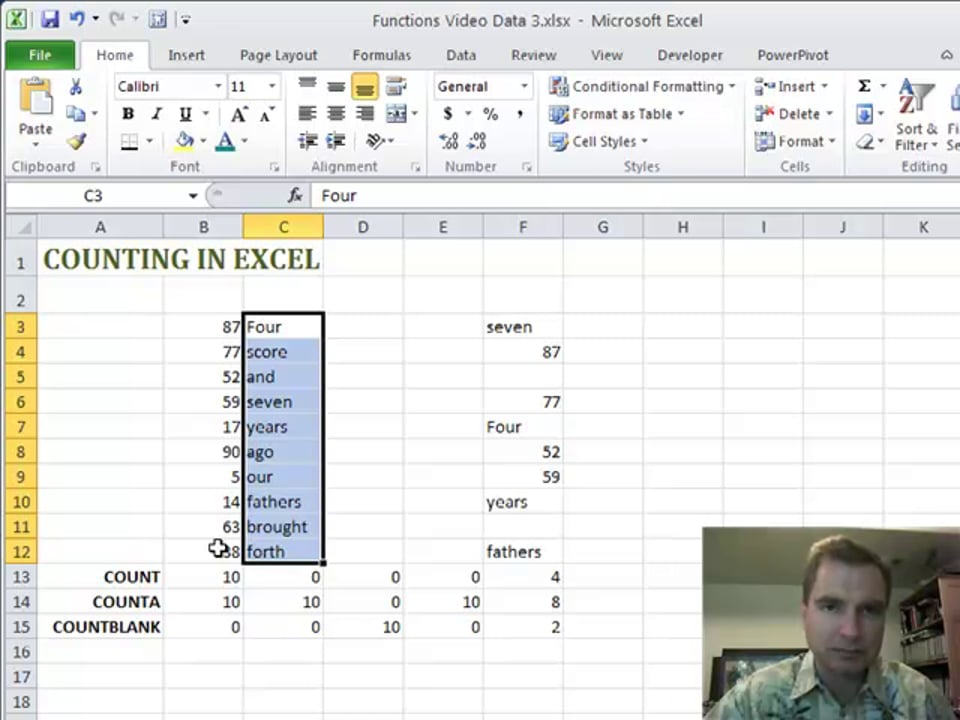 Excel Video 189 Counting in Excel