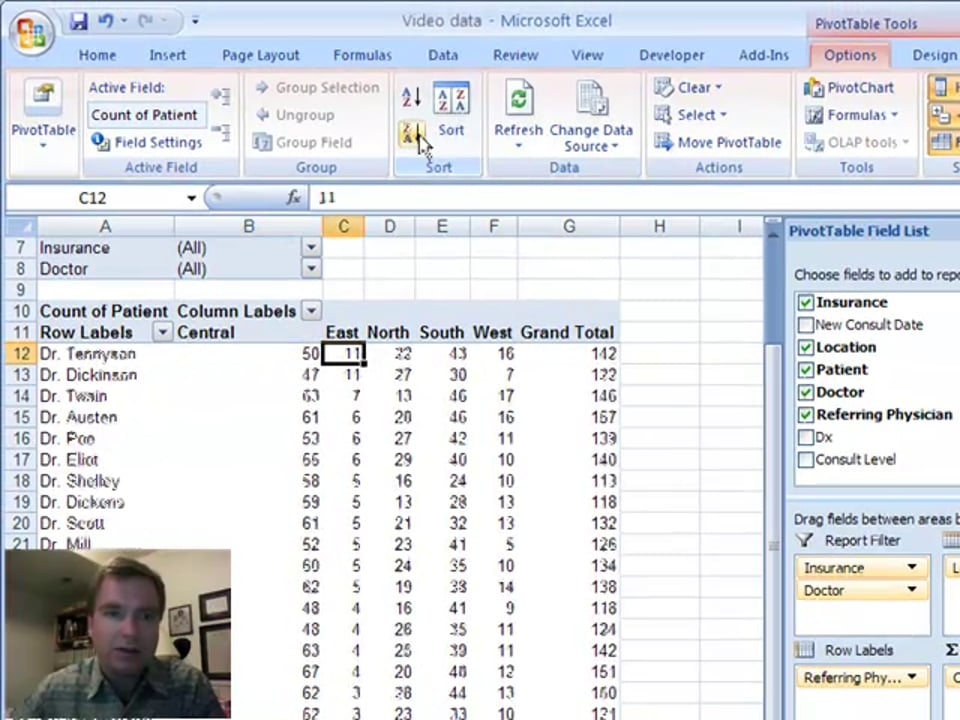 Excel Video 2 Sorting a Pivot Table Video