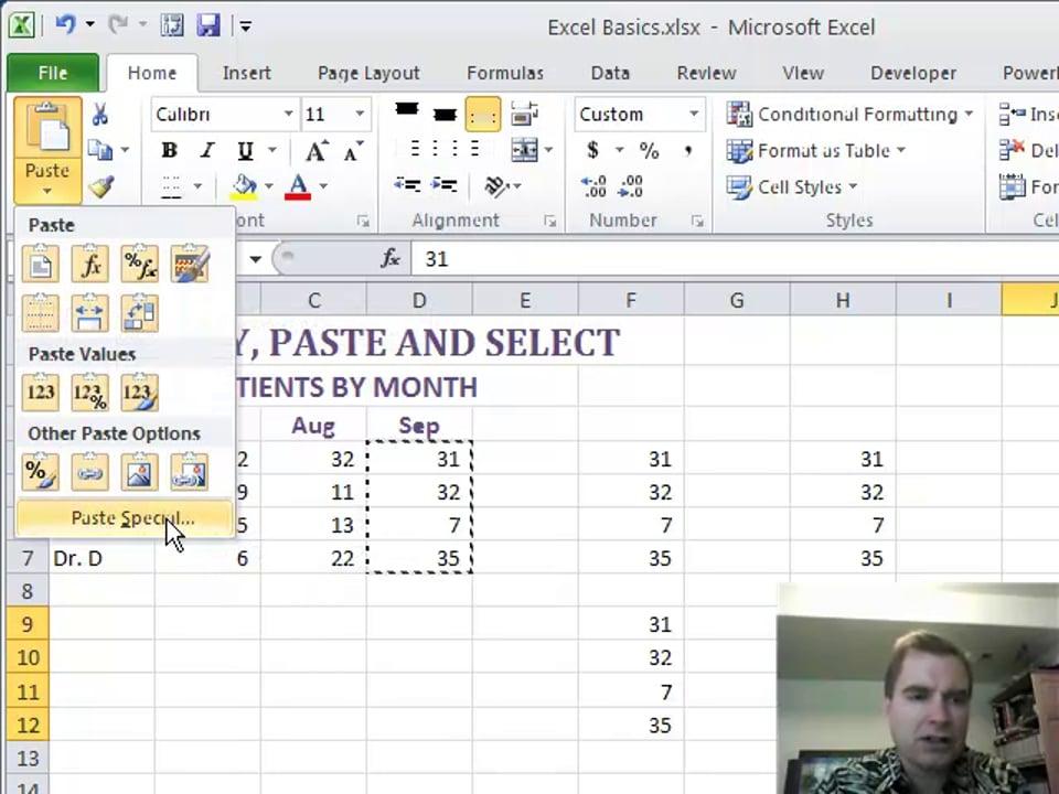 Excel Video 205 PASTE
